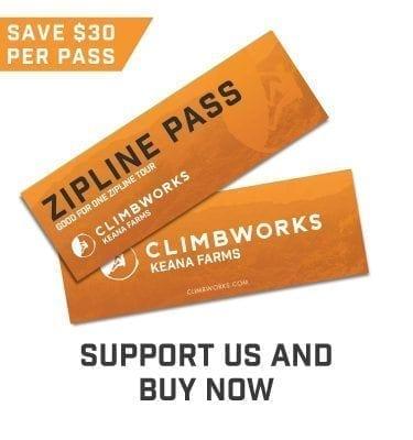 CLIMB Works Keana Farms Zipline passes