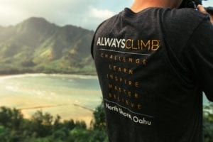 A T-shirt with the CLIMB Works motto.