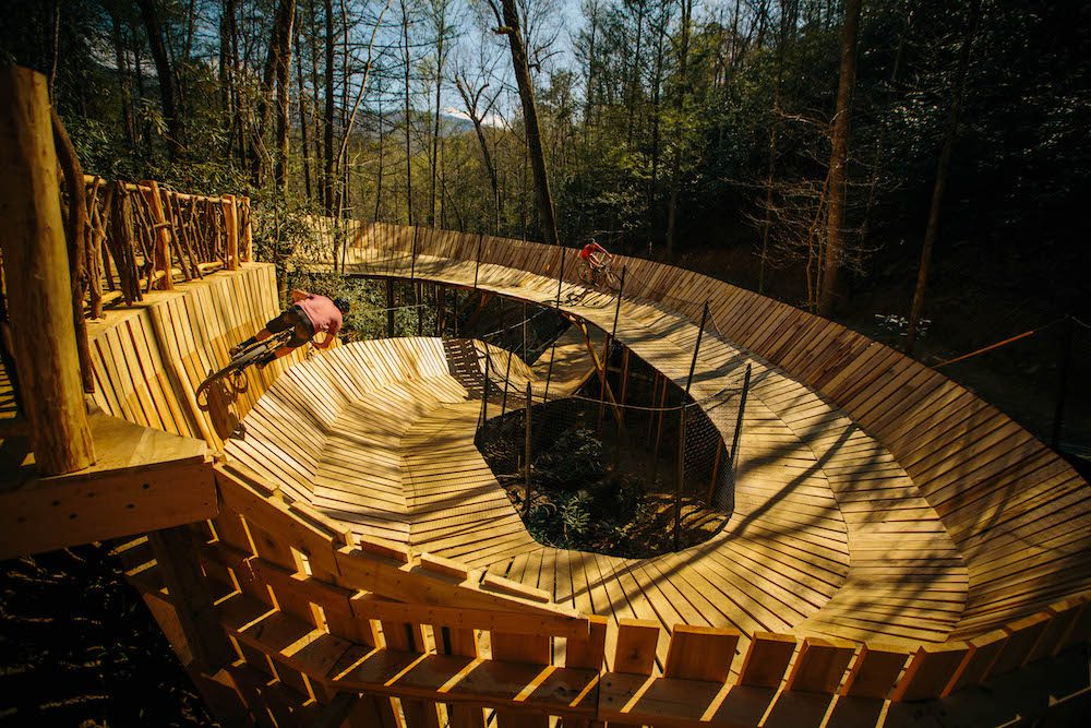 Mountain bikers riding The Curliest at CLIMB Works Smoky Mountains.