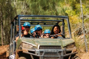 Guests enjoying an ATV ride to our Oahu ziplines.