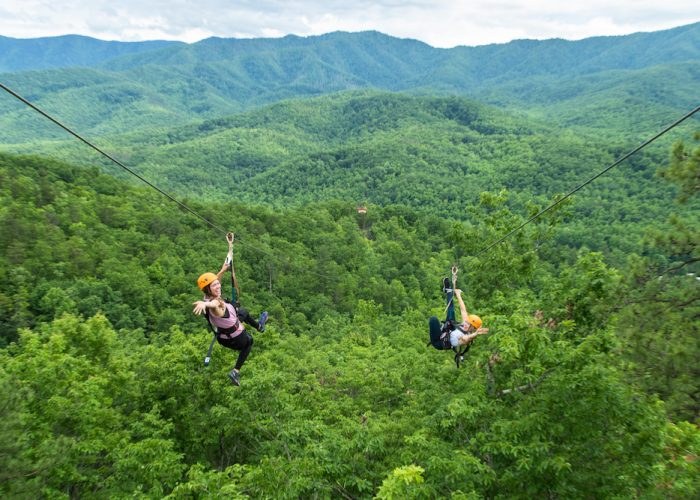two girls on mountaintop zipline tour