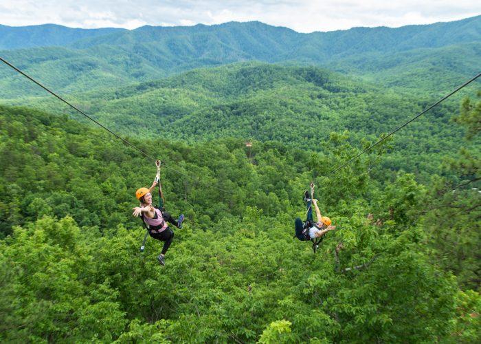 two girls on mountaintop zipline tour