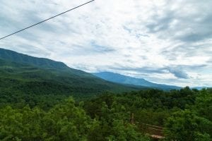 Stunning view of the Smoky Mountains from the CLIMB Works Mountaintop Zipline Course.