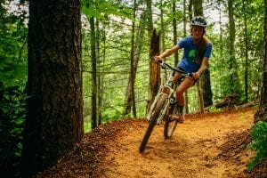 woman mountain biking in the smokies