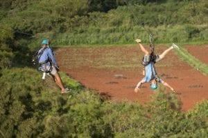 two friends on oahu ziplines