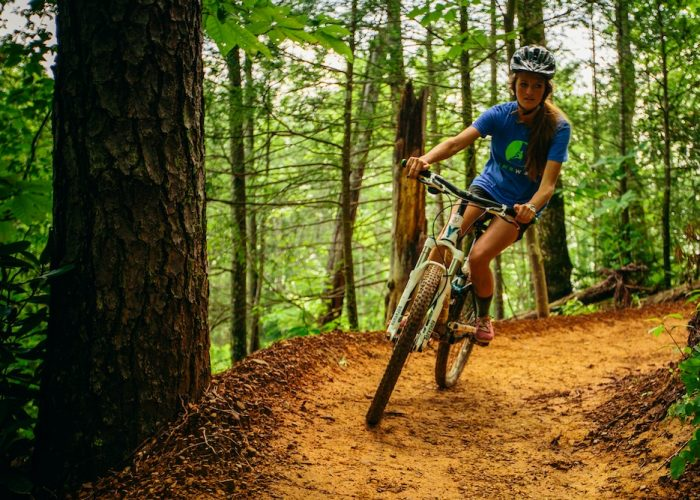 Girl mountain biking