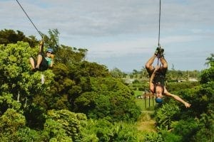 friends ziplining in hawaii