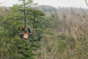 group ziplining in the Smokies