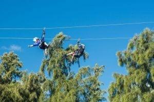 friends ziplining in oahu