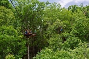 family ziplining in the smoky mountains