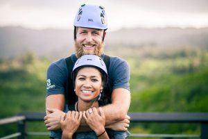 smiling couple on oahu ziplines