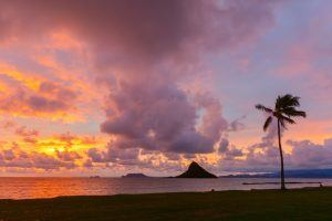 sunset at kualoa regional park